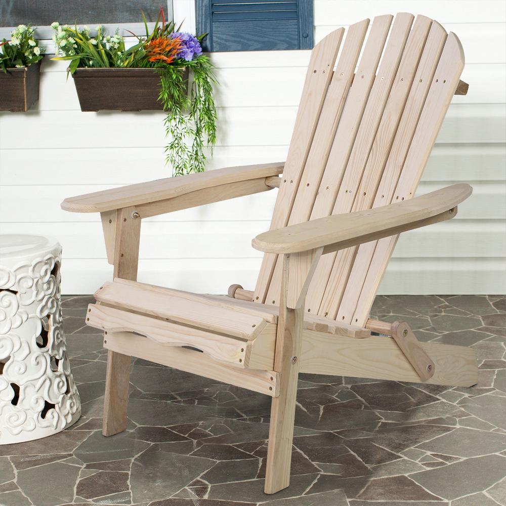Beige Folding Wood Adirondack Chair