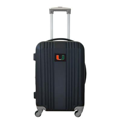 NCAA Miami 21 in. Black Hardcase 2-Tone Luggage Carry-On Spinner Suitcase