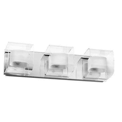 Courtney 3-Light Polished Chrome Vanity Light with Clear/Frosted Glass