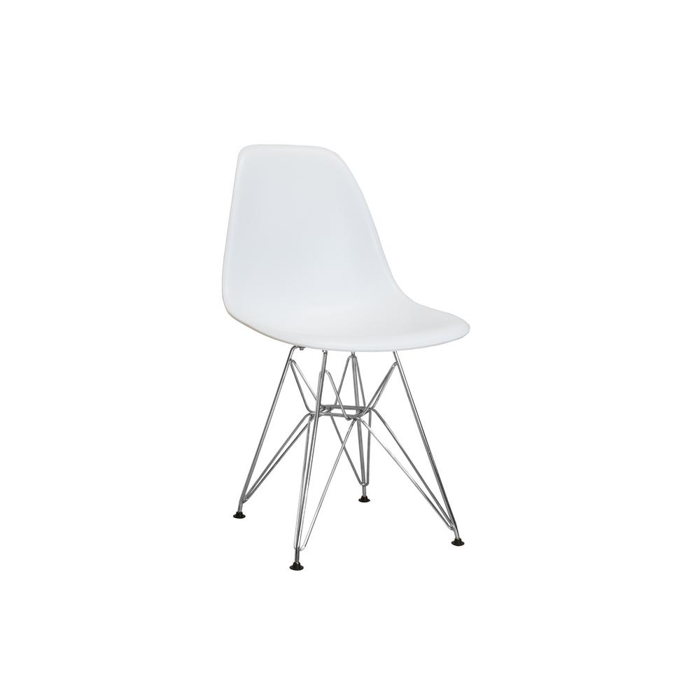 Mod Made Paris Tower White Dining Side Chair With Chrome Legs Set Of 2