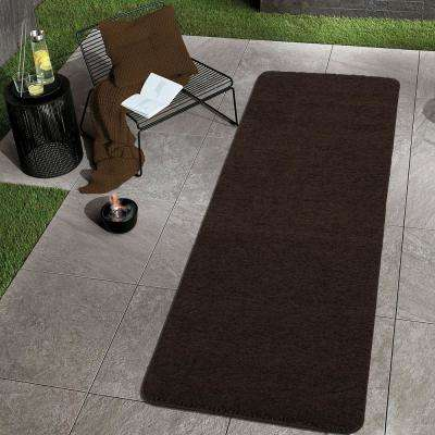 Luxury Collection Shag Solid Design Brown 2 ft. x 5 ft. Runner Rug
