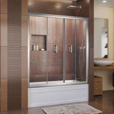 Butterfly 57-1/2 to 59 in. x 58 in. Framed Bi-Fold Pivot Tub Door in Chrome