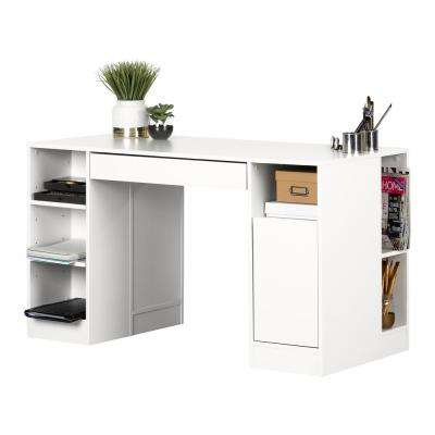 53.5 in. Pure White Rectangular 2 -Drawer Computer Desk with Adjustable Shelves
