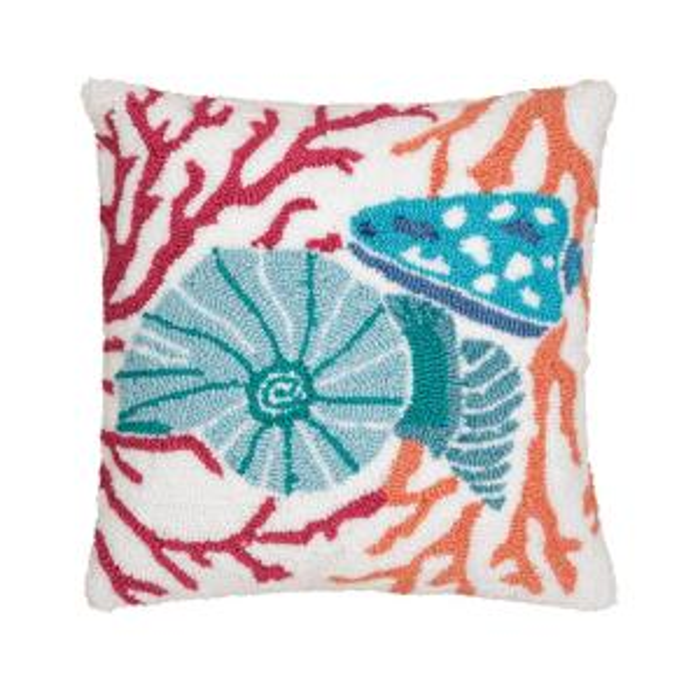 Multi Colored Shell Hooked Aqua Standard Pillow