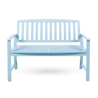 Loja 2-Person Light Blue Wood Outdoor Bench