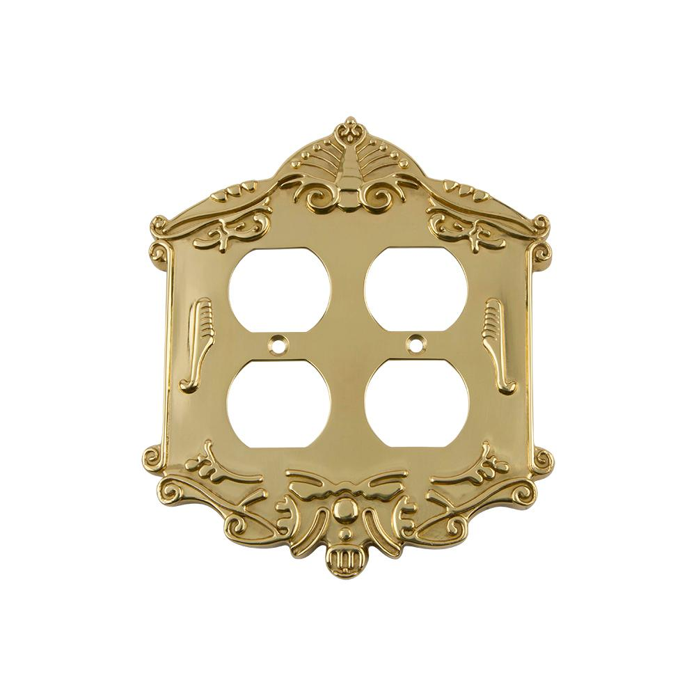 1 Polished Brass Gold Brite Double Duplex Plug Wall Plate Outlet Cover Free Ship