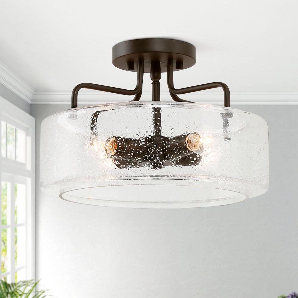 Lnc Etilka 12 In 4 Light Oil Rubbed Bronze Semi Flush Mount Ceiling Light With Seeded Glass Shade Led Compatible E6fvyjhd1367597 The Home Depot