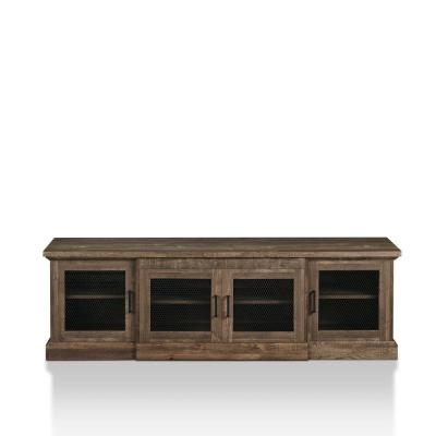 Ziv 69 in. Reclaimed Oak Particle Board TV Stand Fits TVs Up to 80 in. with Storage Doors