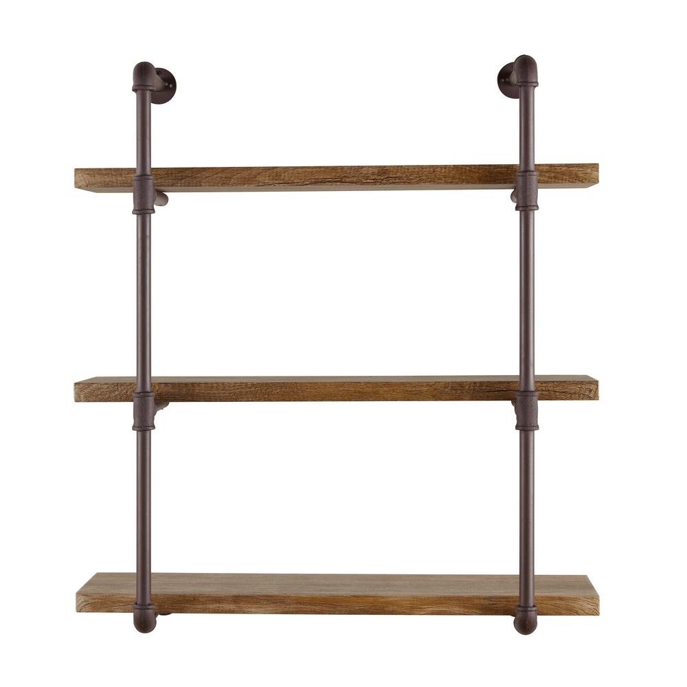 DanyaB DANYA B Urbanne Industrial Aged 3-Tiered Wood Print MDF and Metal Pipe Floating Wall Shelf, Brown/Tan