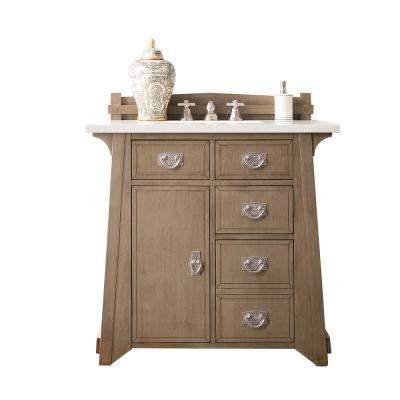Pasadena 36 in. W Single Vanity in Warm Taupe with Marble Vanity Top in Carrara White with White Basin