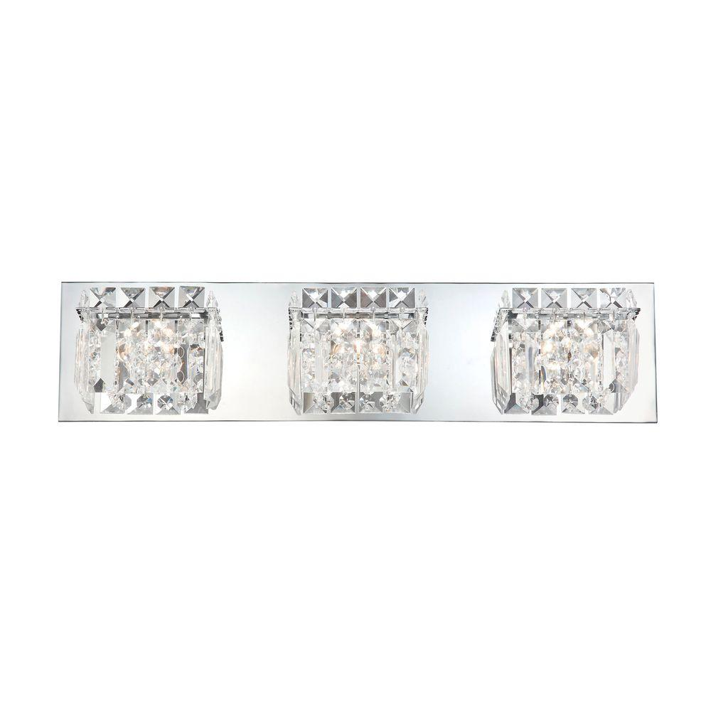 An Lighting Crown 3 Light Chrome Vanity With Clear Crystal Gl