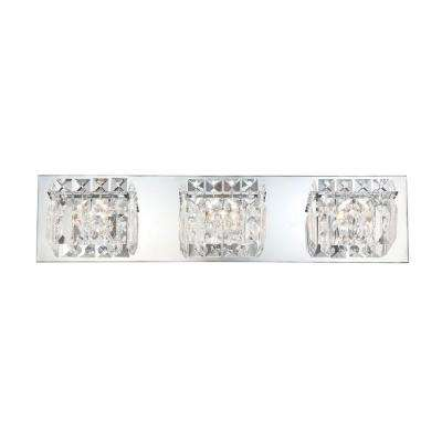 Crown 3-Light Chrome Vanity Light with Clear Crystal Glass