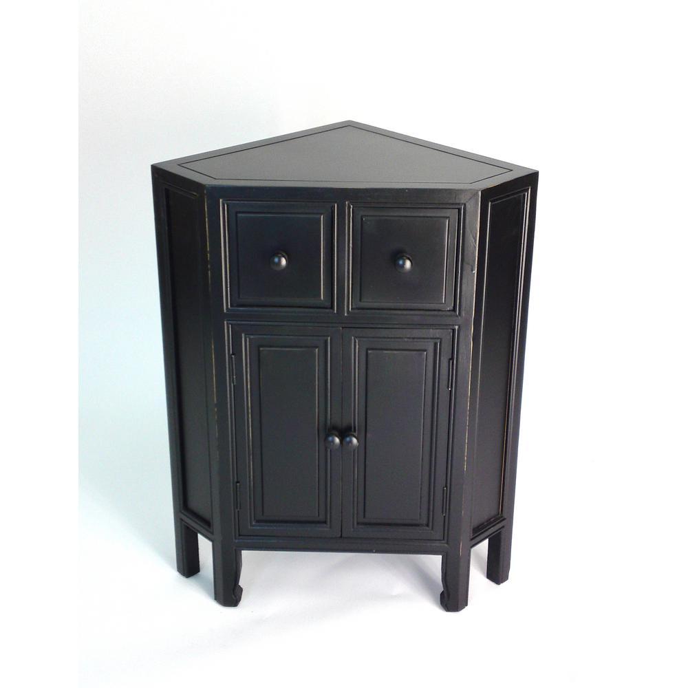 Ant. Black Suchow Corner Cabinet