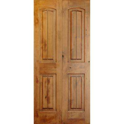 36 in. x 80 in. Rustic Knotty Alder 2-Panel Arch Top with V-Grooves Solid Core Unfinished Wood Interior Bi-Fold Door