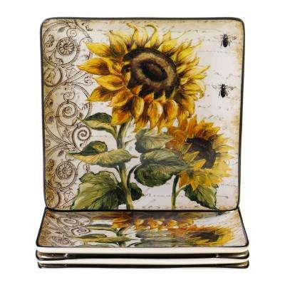 French Sunflowers 10.5 in. Dinner Plate (Set of 4)