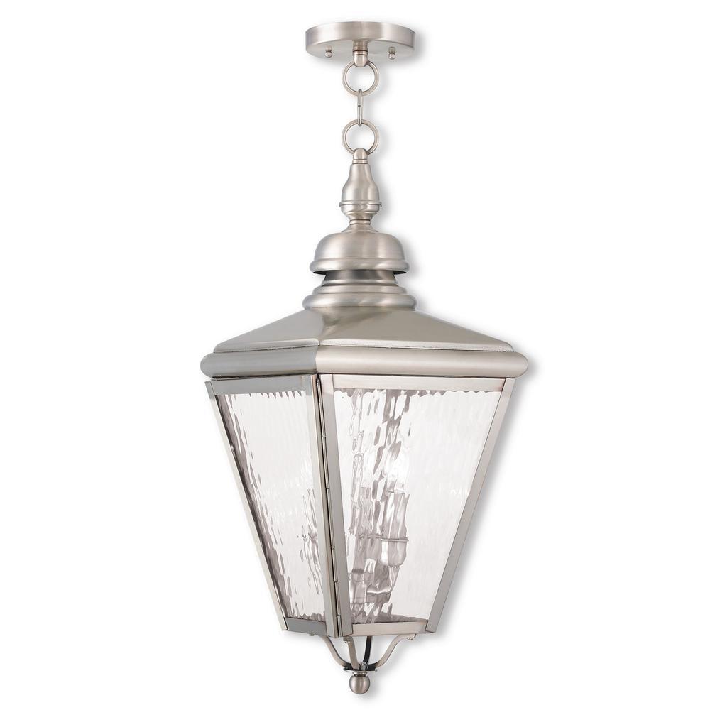 Cambridge Brushed Nickel 3-Light Outdoor Hanging Lantern