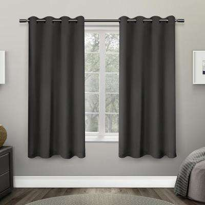 Sateen 52 in. W x 63 in. L Woven Blackout Grommet Top Curtain Panel in Charcoal (2 Panels)