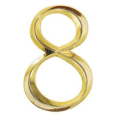 Classic 6 in. Polished Brass Number 8