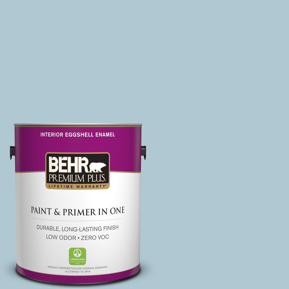 BEHR Premium Plus 1-gal. #S470-2 Gentle Sea Eggshell Enamel Interior Paint