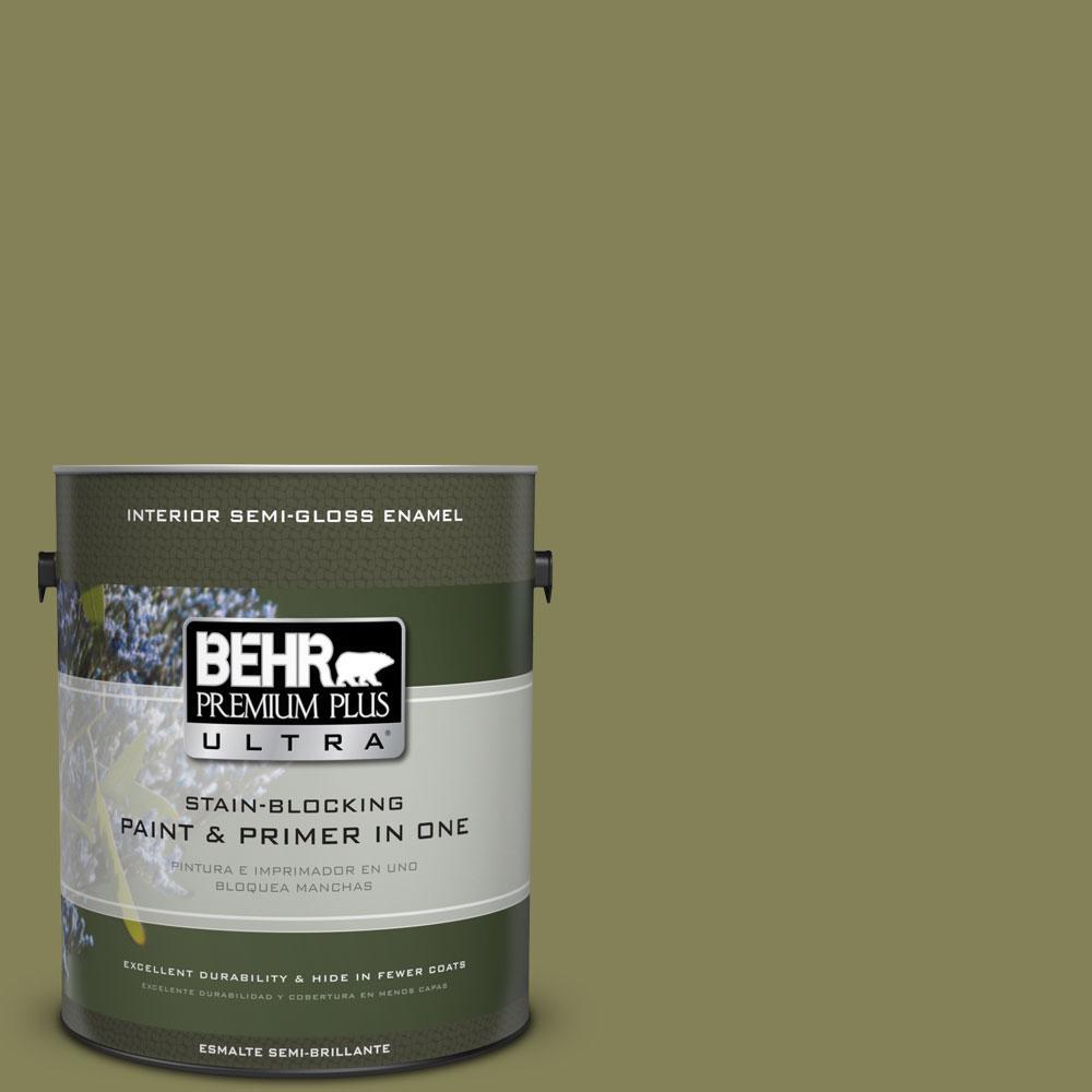 BEHR Premium Plus Ultra 1-gal. #PMD-47 Martini Olive Semi-Gloss Enamel Interior Paint