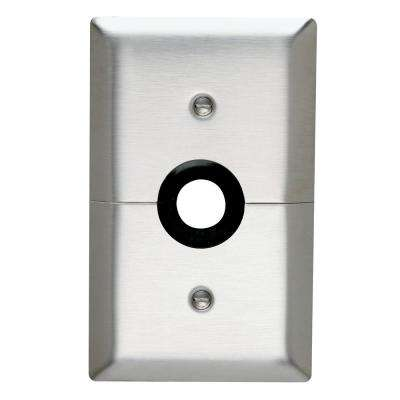 302 Series 1-Gang Horizontal Split 7/8 in. Hole Coaxial Wall Plate, Stainless Steel