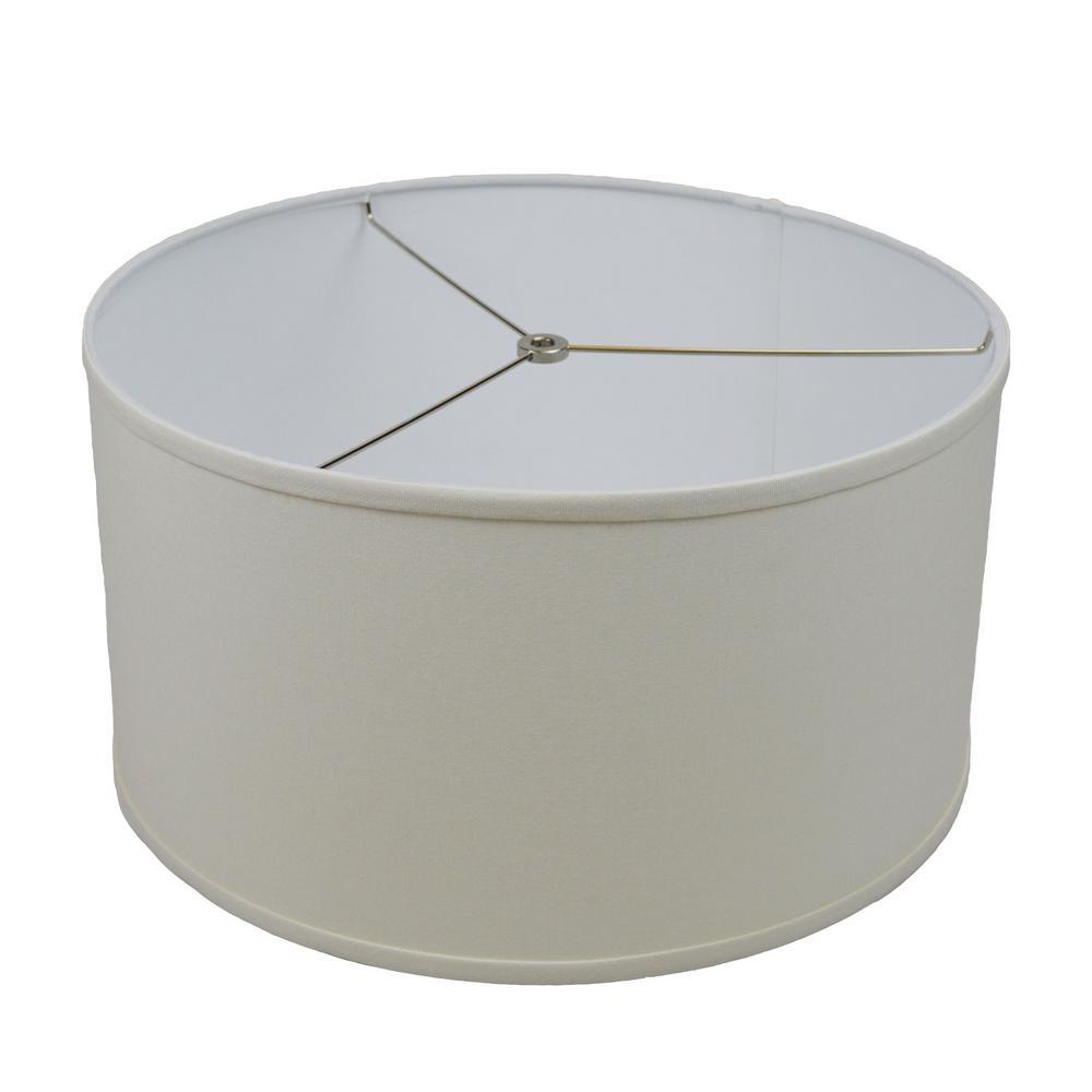 17 in. Top Diameter x 17 in. Bottom Diameter x 9 in. H Linen Cream Drum Lamp Shade
