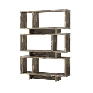 66 in. Weathered Gray Wood 6-shelf Etagere Bookcase with Open Back