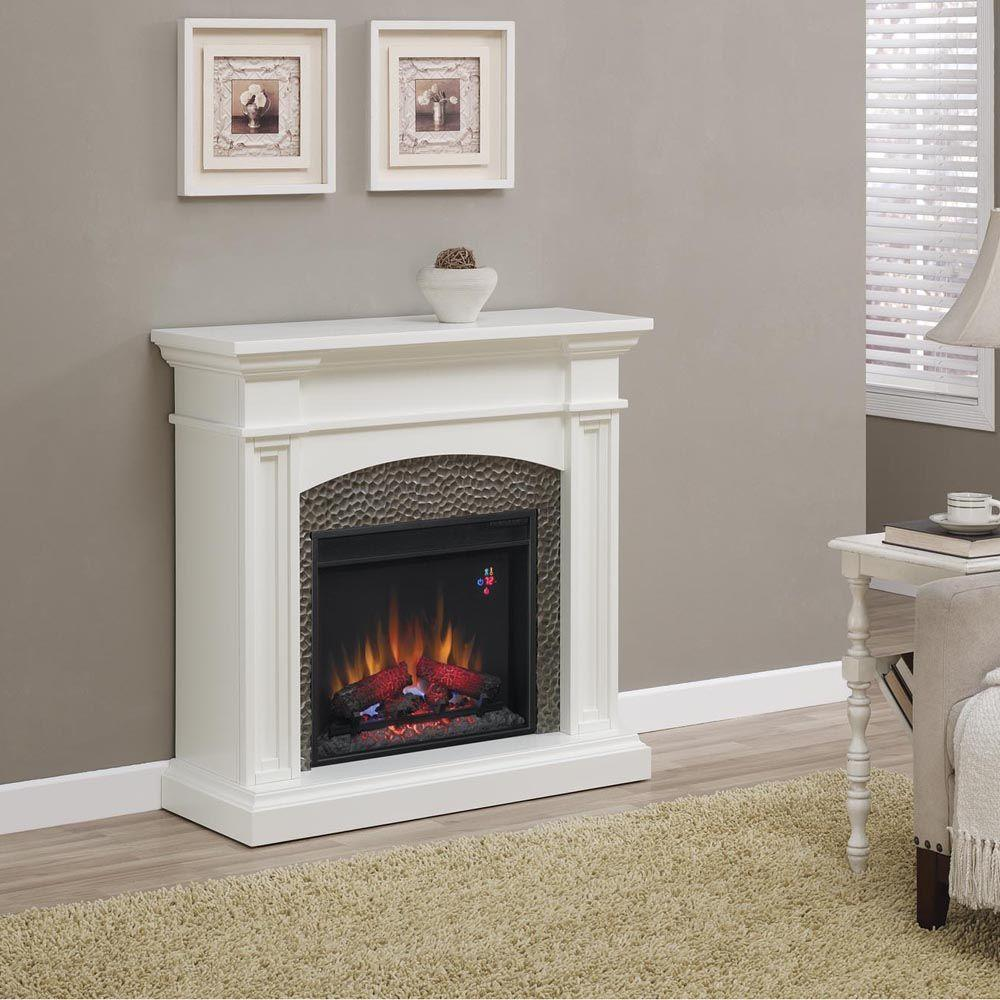 Hampton Bay Culver 42 in. Hammered Insert Electric Fireplace in White