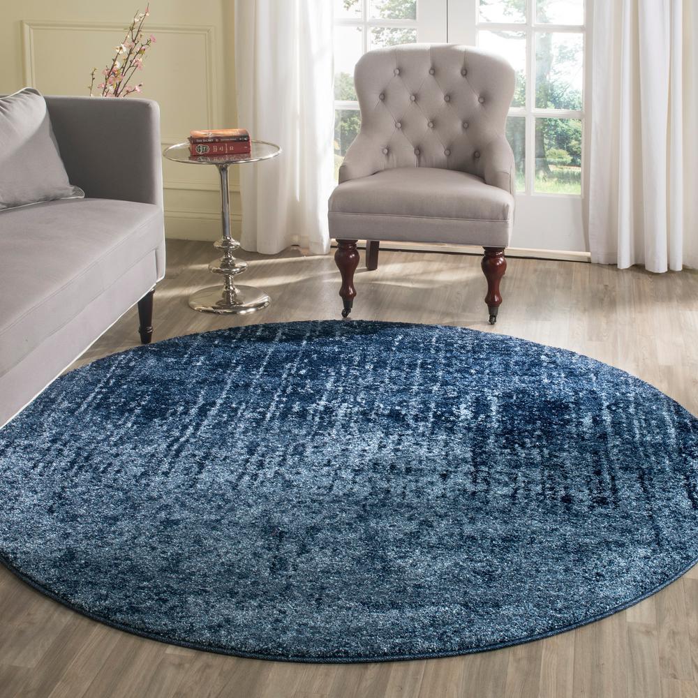 Retro Light Blue/Blue 6 ft. x 6 ft. Round Area Rug