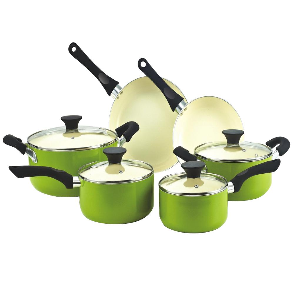 10-Piece Green Cookware Set with Lids