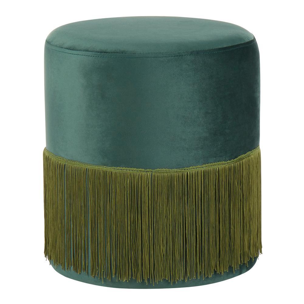 on sale aa8c1 db891 Fringe Emerald Green Velvet Ottoman