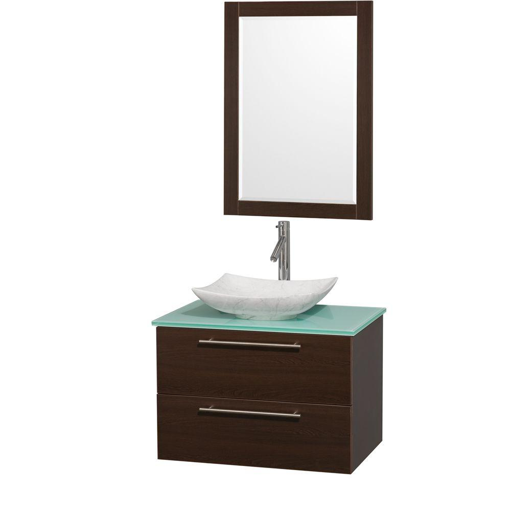 Charmant Wyndham Collection Amare 30 In. Vanity In Espresso With Glass Vanity Top In  Green,