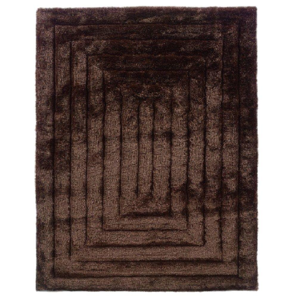 Linon Home Decor Links Collection Squared Chocolate 8 Ft X 10 Ft Indoor Area Rug Rug Lk0881
