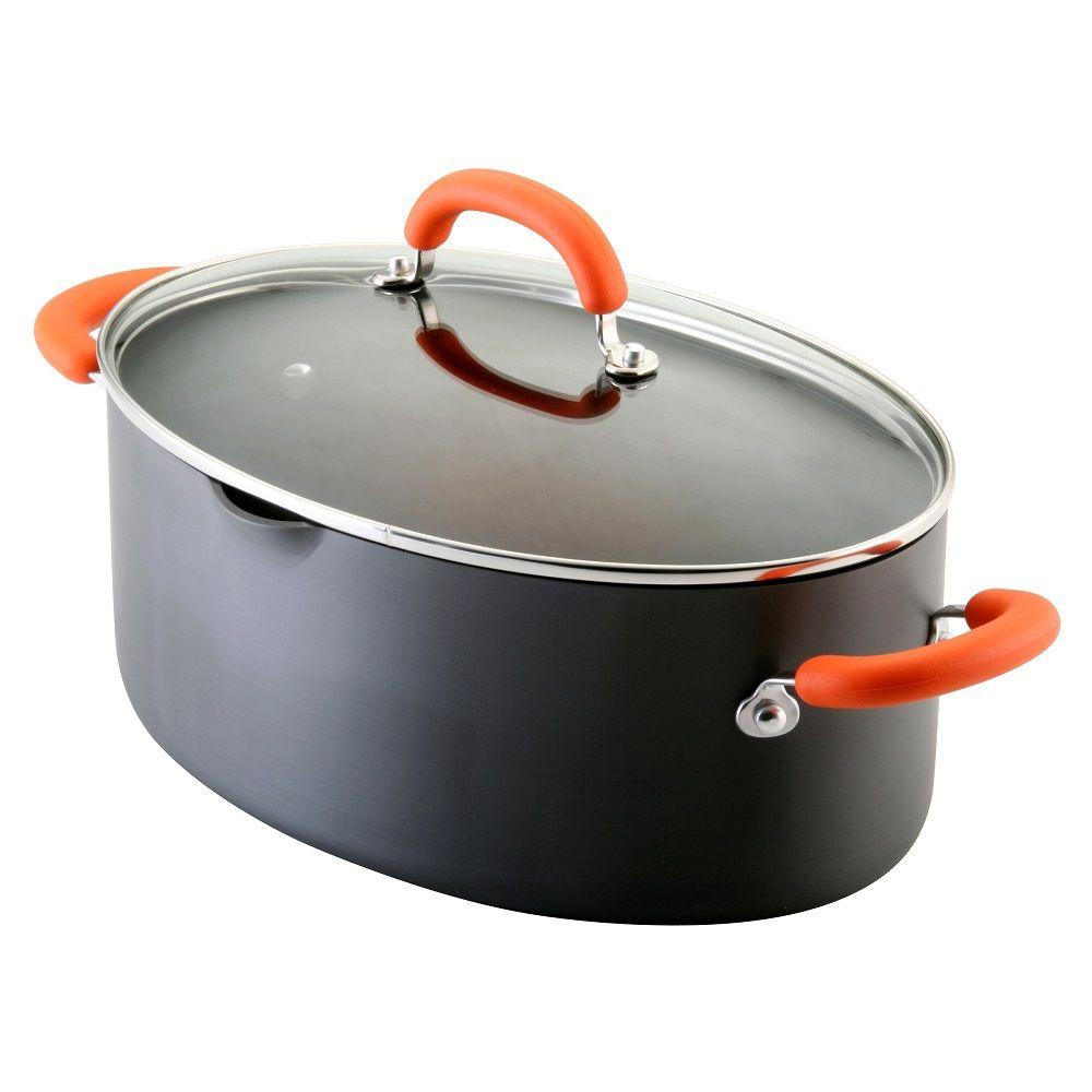 Rachael Ray 8 qt. Nonstick Hard Anodized Covered Pasta Pot with Orange Handles-DISCONTINUED