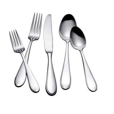 Austen 45-Piece Polished Silver Stainless Steel Flatware Set Service for 8