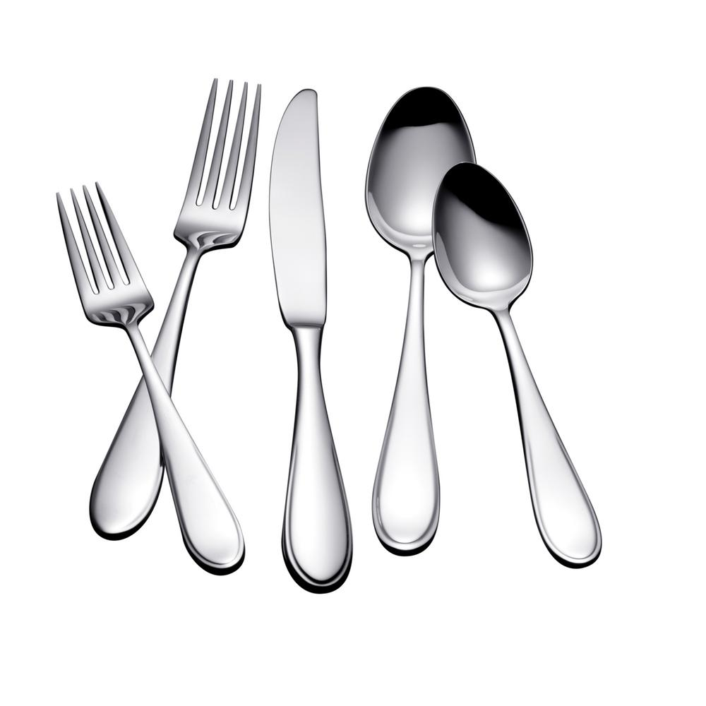 Yamazaki Austen 45-Piece Polished Silver Stainless Steel Flatware Set Service for 8  sc 1 st  The Home Depot & Yamazaki Austen 45-Piece Polished Silver Stainless Steel Flatware ...