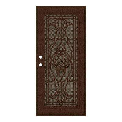 32 in. x 80 in. Manchester Copperclad Right-Hand Surface Mount Security Door with Brown Perforated Metal Screen