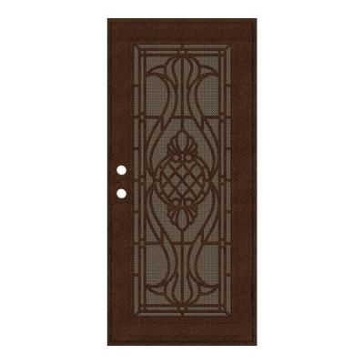 36 in. x 80 in. Manchester Copperclad Right-Hand Surface Mount Security Door with Brown Perforated Metal Screen
