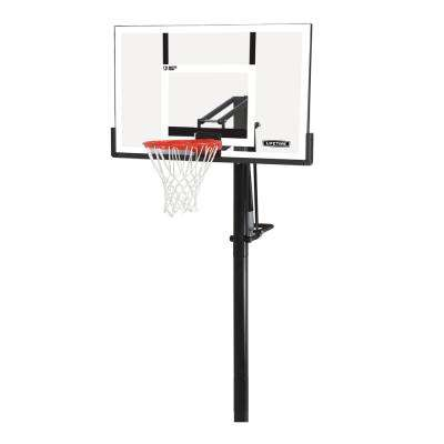 54 in. x 33 in. shatterguard inground w/ 4 in. sq. pole and slam it pro rim