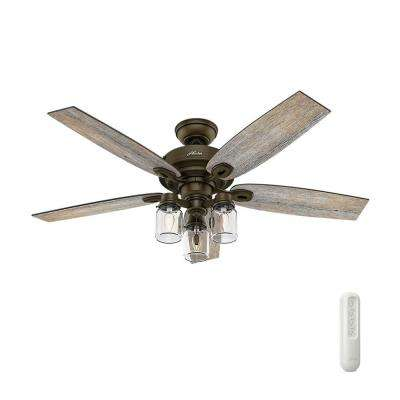 Crown Canyon 52 in. Indoor Regal Bronze Ceiling Fan with Light Bundled with Handheld Remote Control