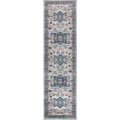 Modern Persian Vintage Moroccan Light Grey/Light Pink 2 ft. x 8 ft. Runner Rug