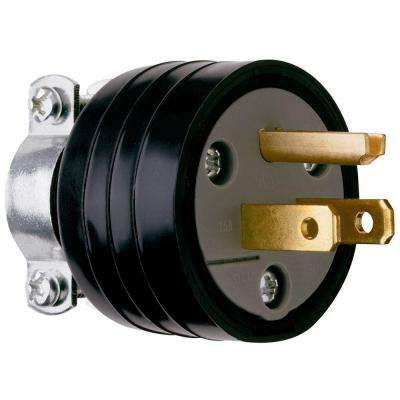 15 Amp 125-Volt Rubber Plug with Vinyl Cord Clamp - Black