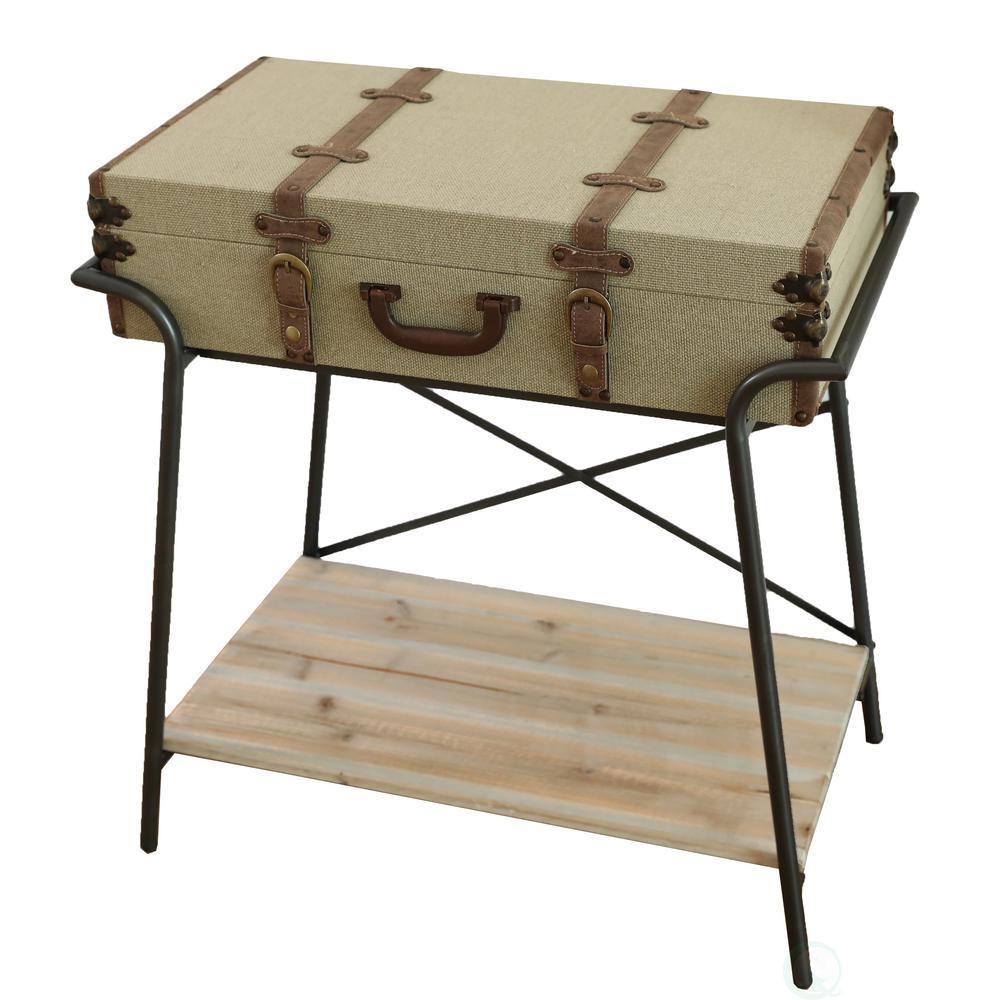 Vintiquewise Antique Style Storage Trunk Accent End Table