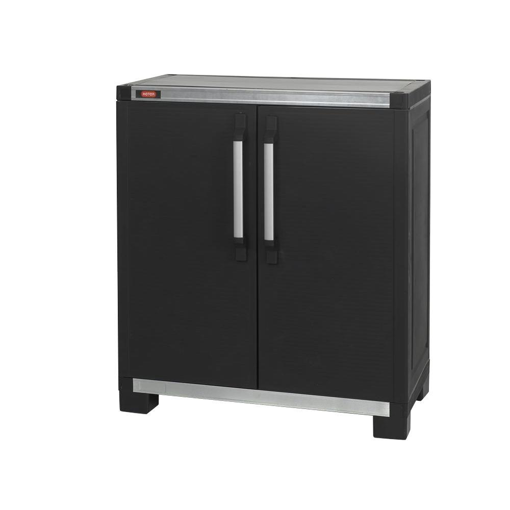 Keter Wide XL 35 In X 39 Freestanding Plastic Utility Base Cabinet Black 217875 The