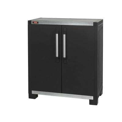 Wide XL 35 in. x 39 in. Freestanding Plastic Utility Base Cabinet in Black