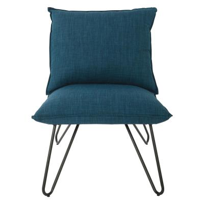 OSP Home Furnishings Riverdale Azure Chair with Metal Black Legs, Blue