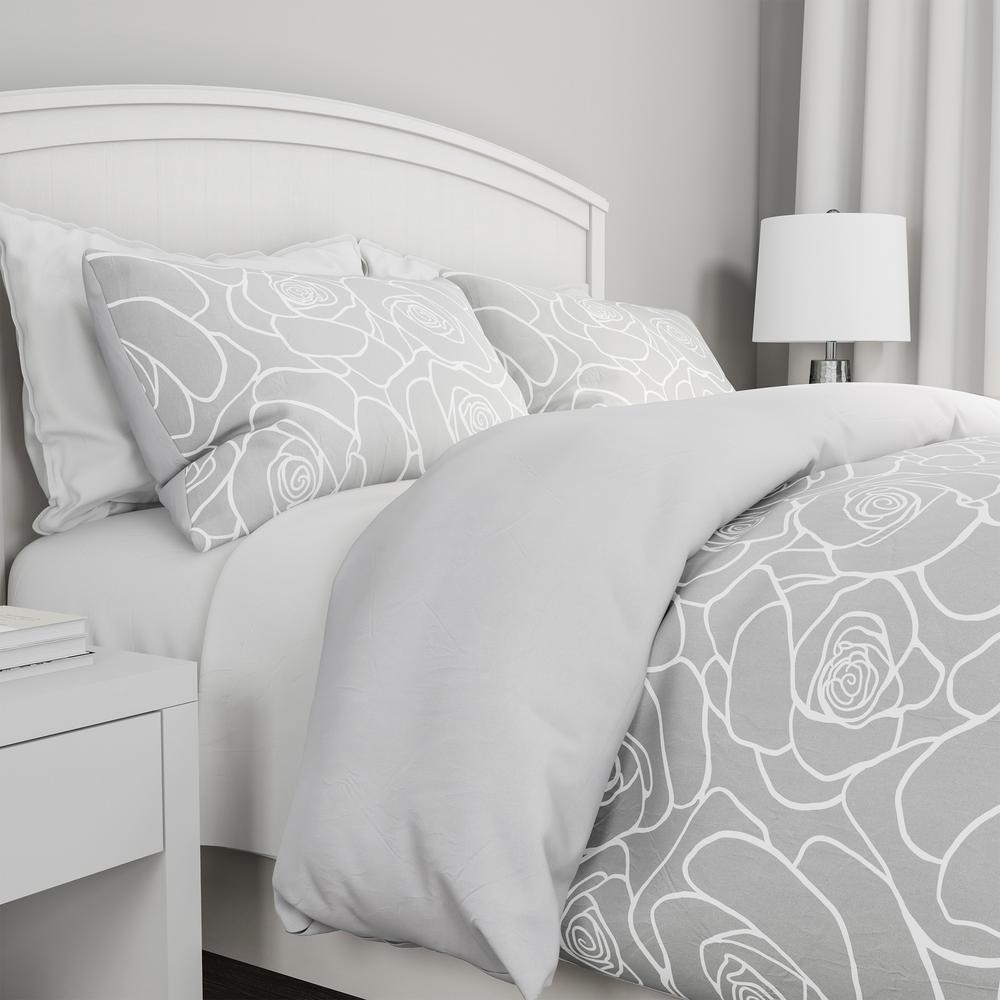 White Rose Print King Comforter Set, Black Grey White Bedding Sets
