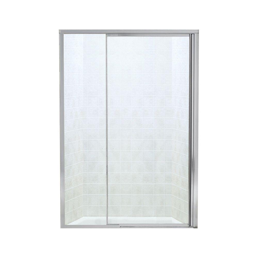 Vista II 48 in. x 65-1/2 in. Framed Pivot Shower Door in Silver with Handle