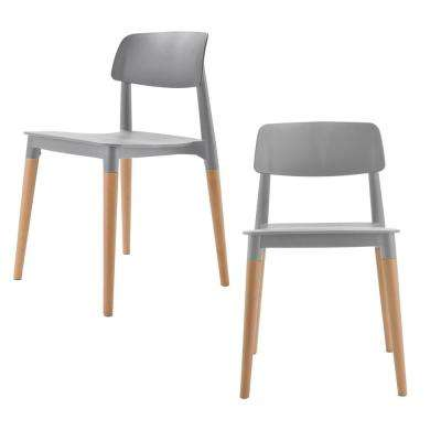 Bel Series Gray Modern Accent Dining Side Chair with Beech Wood Leg (Set of 2)