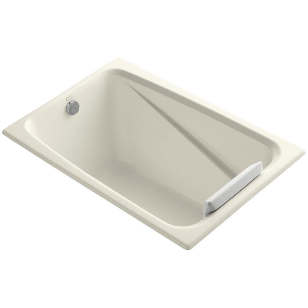 Greek 4 ft. Reversible Drain Acrylic Soaking Tub in Biscuit